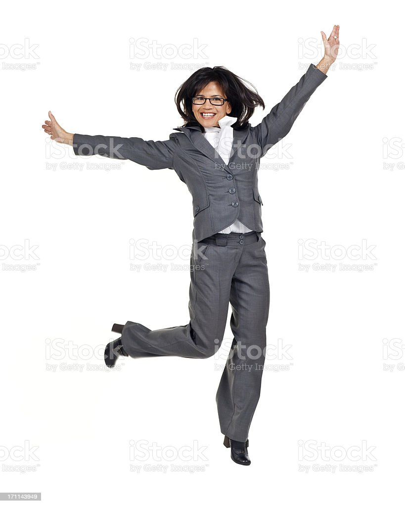 Employment & Jobs: Business Woman Jumping (Isolated) royalty-free stock photo