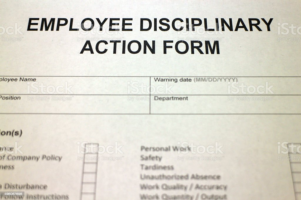Employment Disciplinary Action Form Stock Photo  More Pictures Of