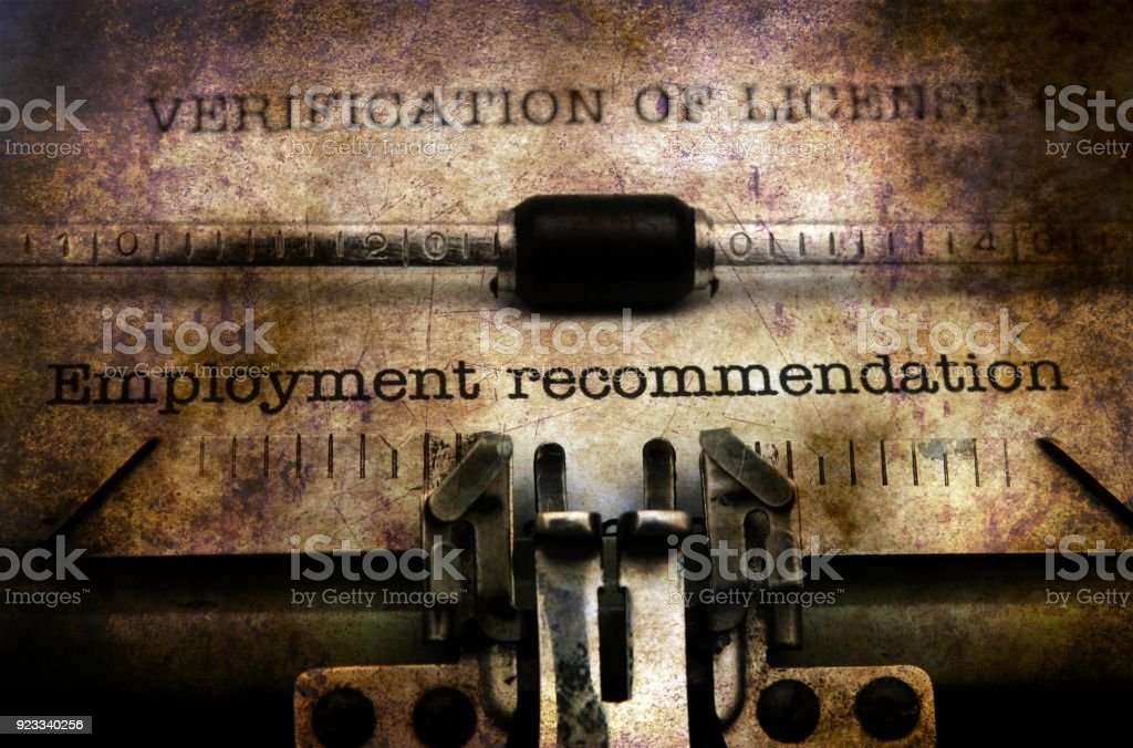 Employment form on vintage typewriter stock photo