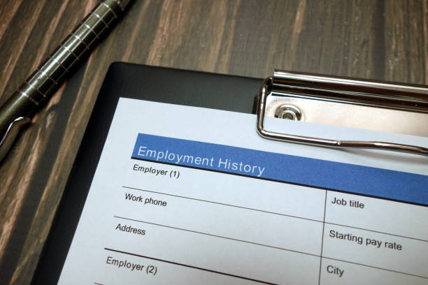 Employment history document, job application form with pen stock photo