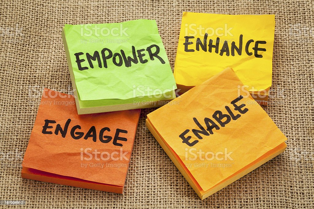 empower, enhance, enable and engage stock photo