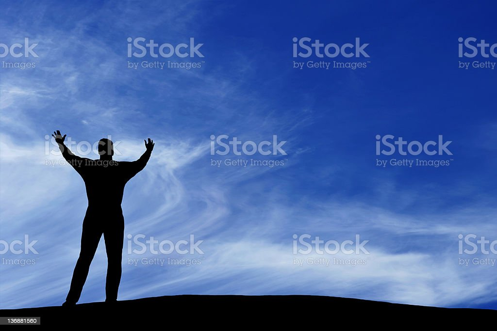 XXL empowered man silhouette royalty-free stock photo