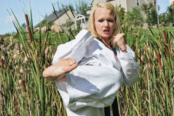 Empowering Outdoor Martial Arts Training stock photo