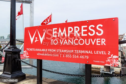 istock Empress Ferry Information Sign in front of the Ferry Port in Victoria, BC Harbour 1307486543