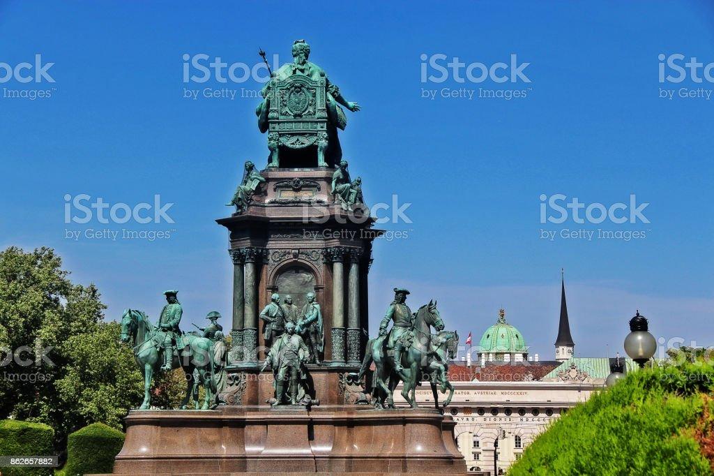 Empress Maria Theresia monument at Maria-Theresien-Platz, Vienna (Wien), Austria (Osterreich) stock photo