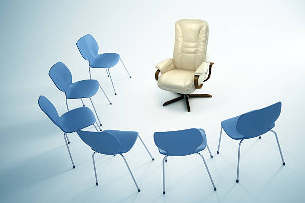 Empry chairs in an interior - Leadership concept illustration stock photo