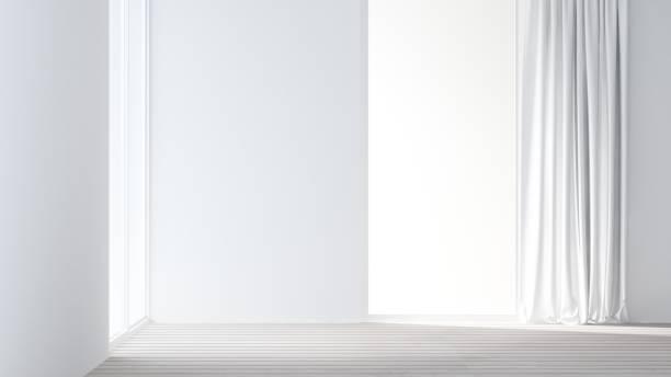 empt einfach platz im hotel - 3d rendering - gardinen weiß stock-fotos und bilder
