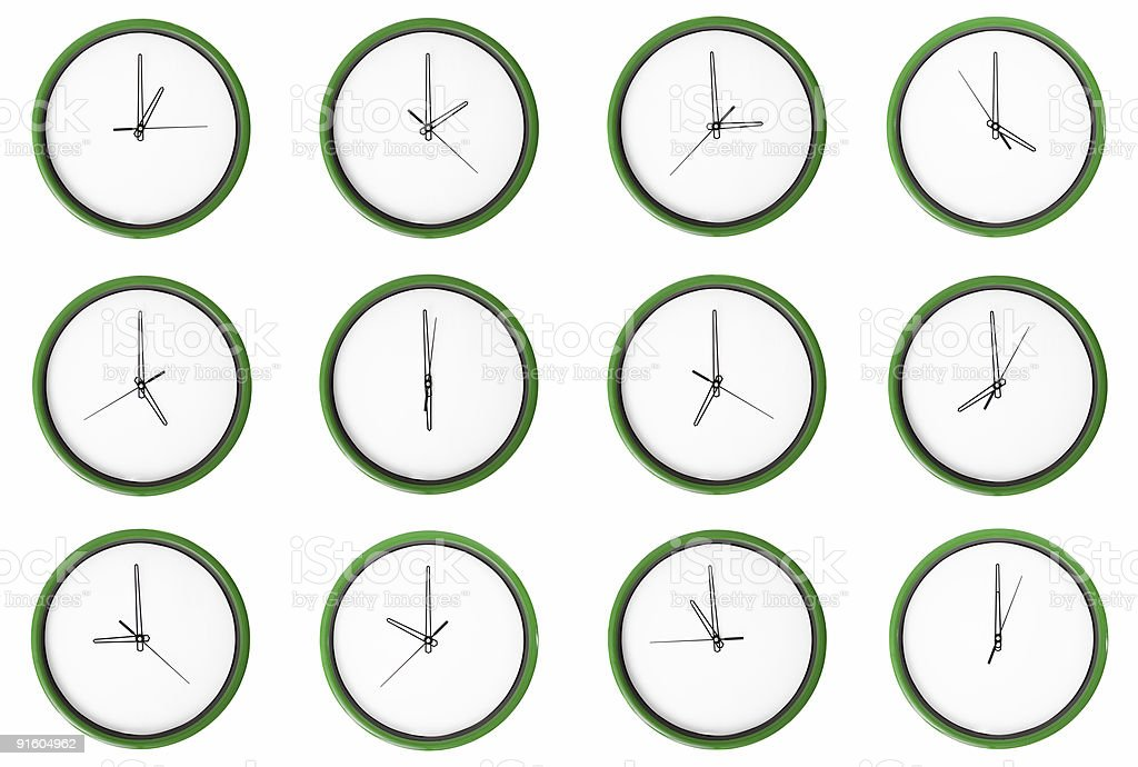 Empty 12 clocks - No digits. stock photo