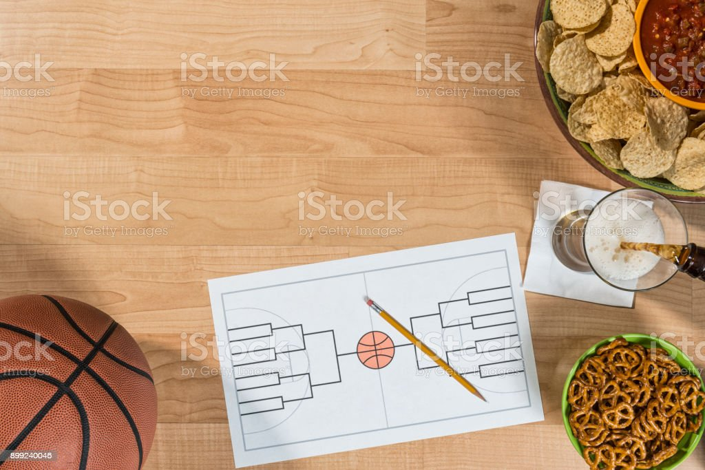 Empty 16 team bracket for College basketball tournament party stock photo