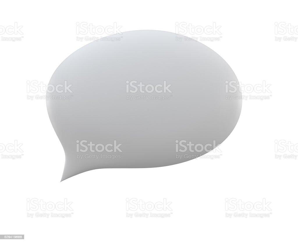 empty 3d elliptical speech bubble icon white on white background stock photo