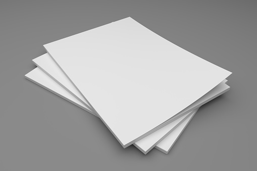 Blank empty stack of magazines or books on a gray background with shadows. 3D illustration mockup.