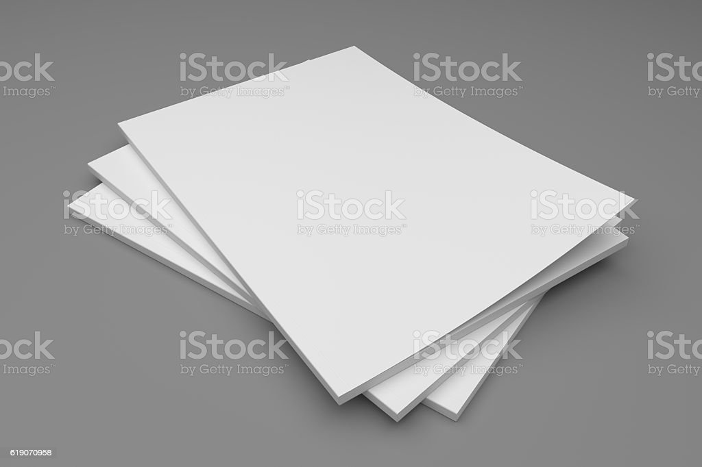 Empty 3D illustration blank stack of magazines on gray. stock photo