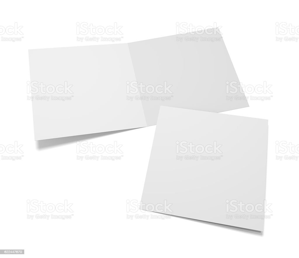 Empty 3d Illustration Greeting Cards With Cover On White Stock Photo