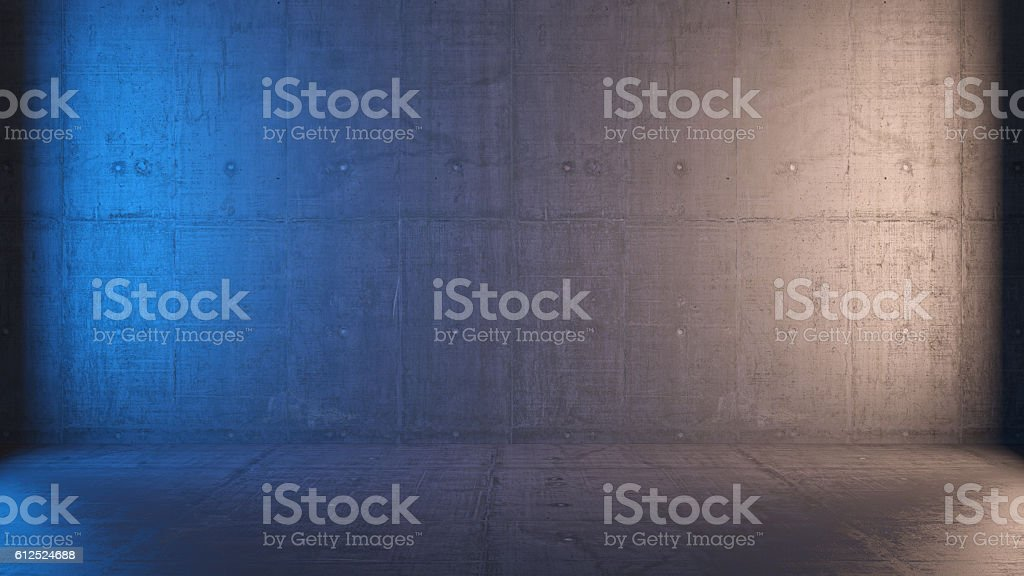 empty 3d interior with concrete walls stock photo