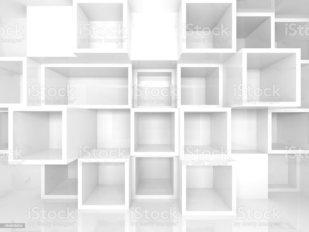 Empty 3d interior with white square shelves on the wall stock photo