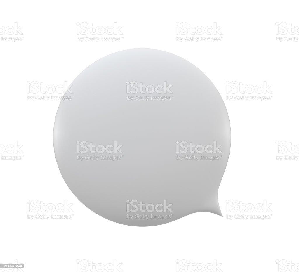 empty 3d spherical speech bubble icon white on white background stock photo