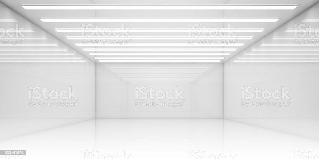 Empty 3d white room with stripes of ceiling lights - Lizenzfrei Abstrakt Stock-Foto