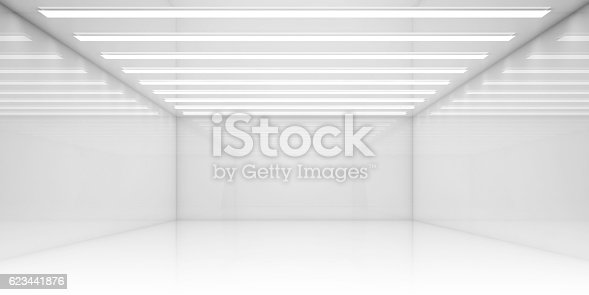 istock Empty 3d white room with stripes of ceiling lights 623441876