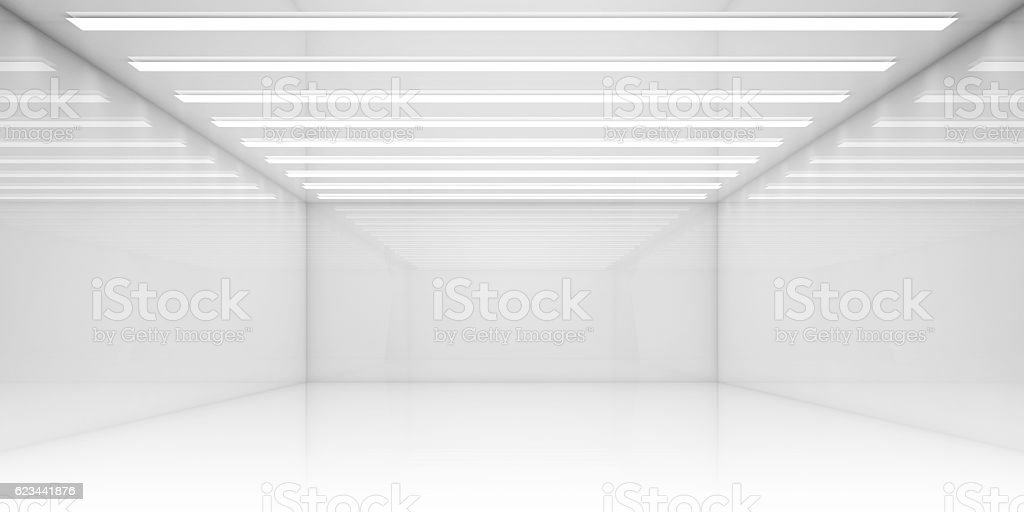 Empty 3d white room with stripes of ceiling lights stock photo