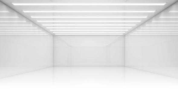 Empty 3d White Room With Stripes Of Ceiling Lights Stockfoto und mehr Bilder von Abstrakt