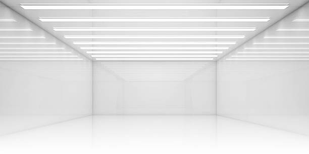 empty 3d white room with stripes of ceiling lights - bodenleuchten stock-fotos und bilder