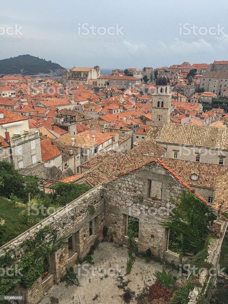 Empty abandoned house with Dubrovnik Cathedral in the background Croatia stock photo
