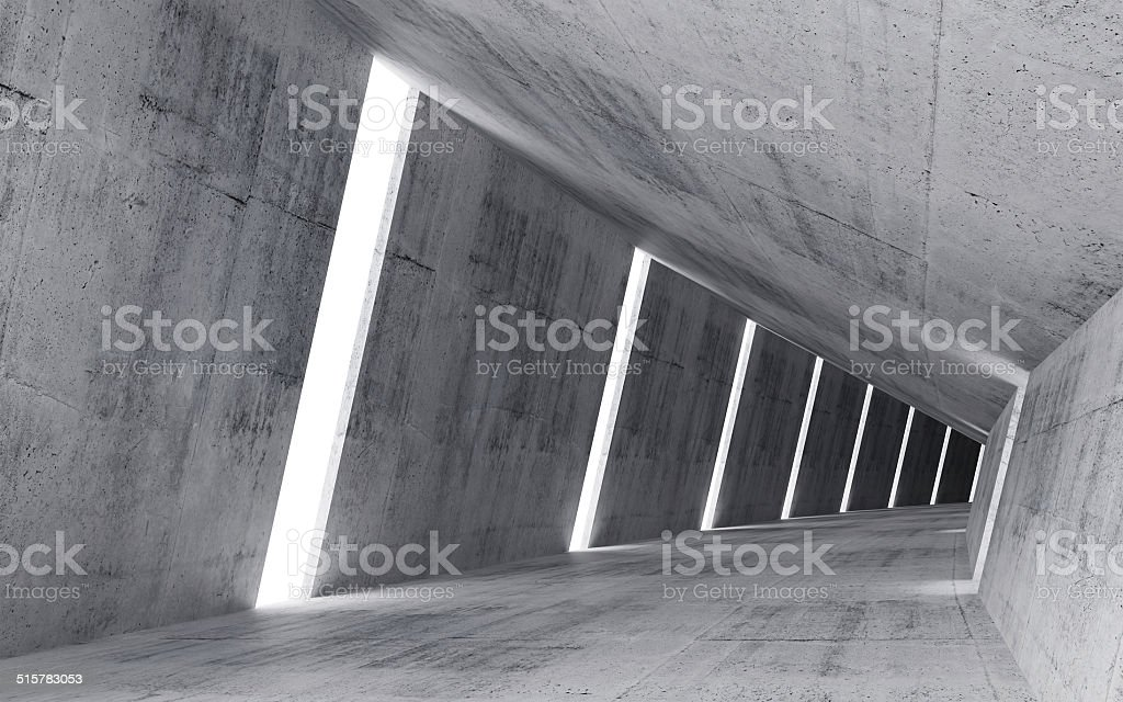 Empty abstract concrete interior, 3d render of pitched tunnel stock photo
