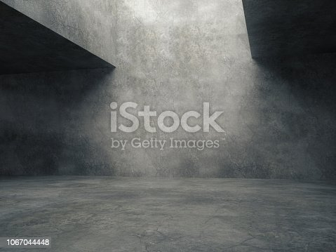 istock Empty abstract concrete room and lateral lights,3D rendering 1067044448