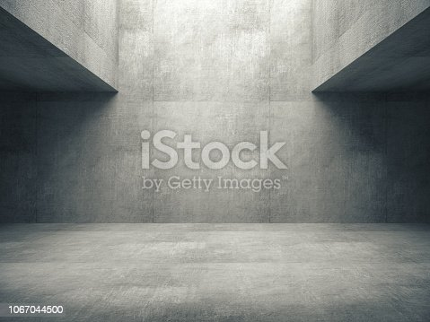 Empty abstract concrete room and lateral lights,3D rendering