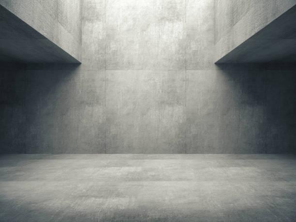stanza vuota in cemento astratto e luci laterali, rendering 3d - calcestruzzo foto e immagini stock