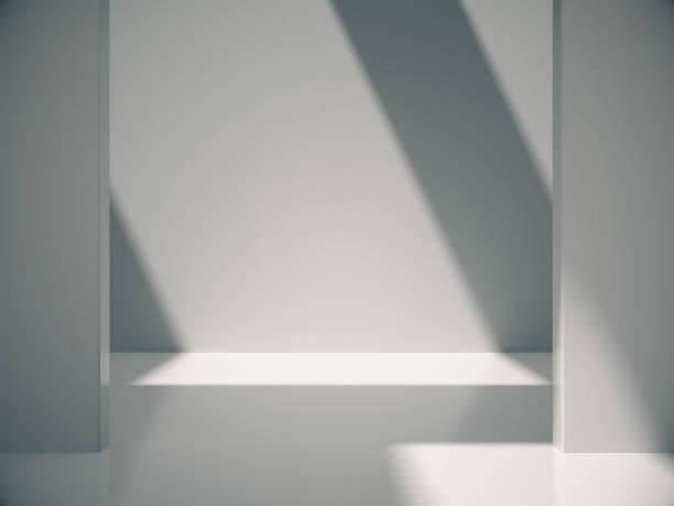leeren abstrakte weißen raum und seitliche lichter, 3d rendering - eingangshalle wohngebäude innenansicht stock-fotos und bilder