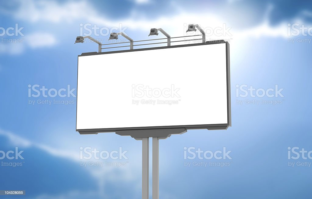 Empty advertisement billboard at sky background royalty-free stock photo