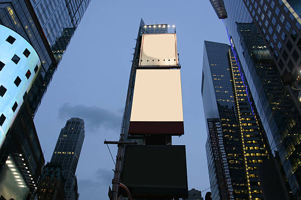 empty advertisement boards in nyc - times square stock photos and pictures