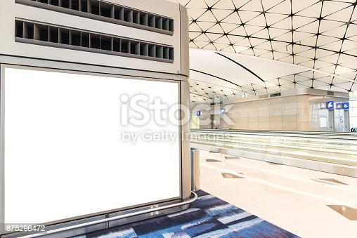 istock Empty advertising frame in airport 875296472