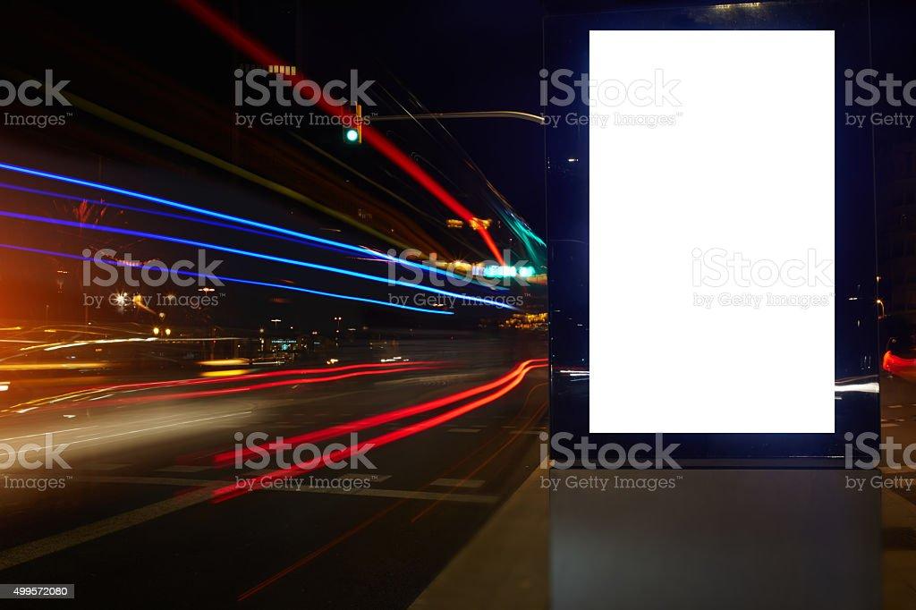 Vide Bannière publicitaire mock up sur la route - Photo