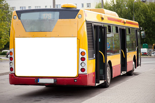 Empty advertising space on an electric bus stock photo