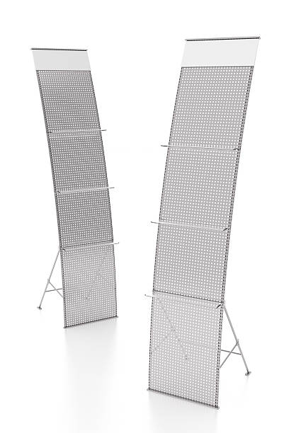 Empty advertising stand with shelves Empty advertising stand with shelves. Isolated on white background. Include clipping path. 3d render magazine rack stock pictures, royalty-free photos & images