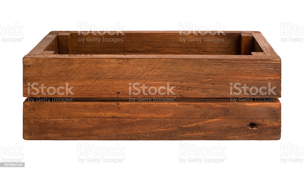 Empty aged wooden box isolated on white background stock photo