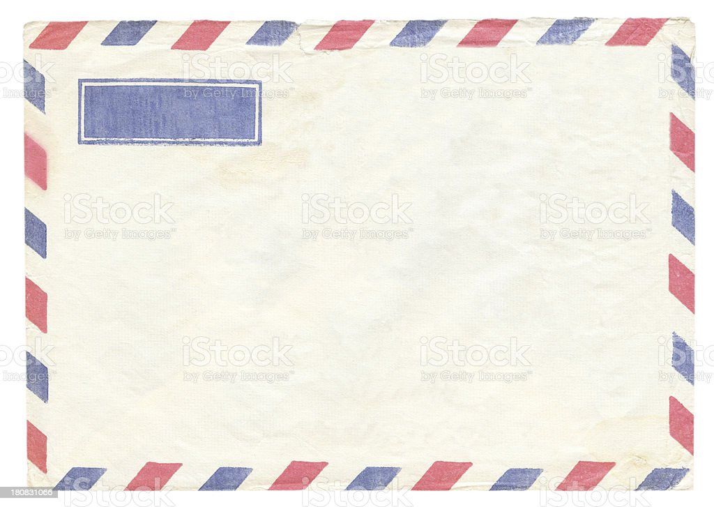 Empty air mail envelope (clipping path included) stock photo