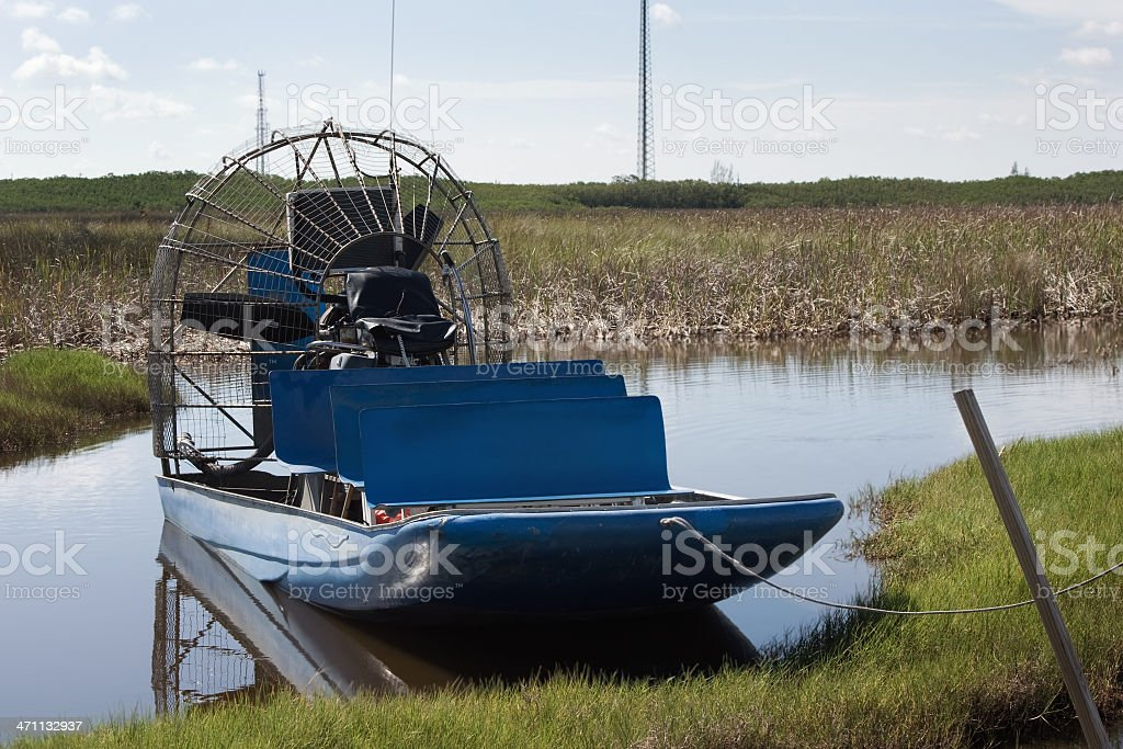 Empty Airboat in the Florida Everglades stock photo