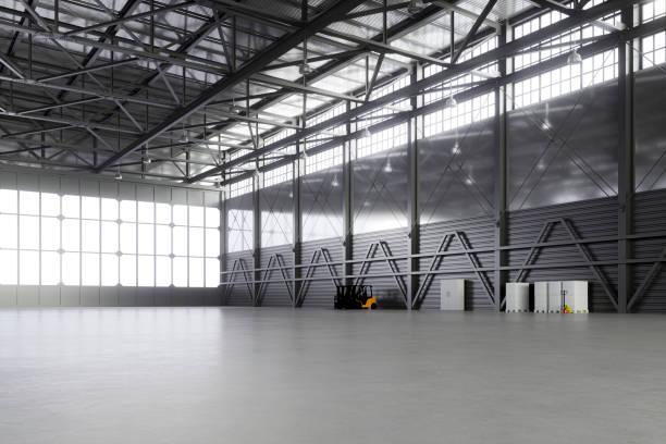 Empty airplane hangar stock photo
