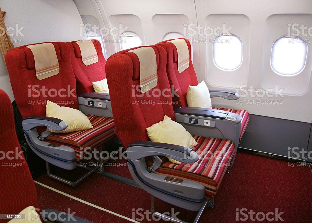 Empty Airplane Seats stock photo