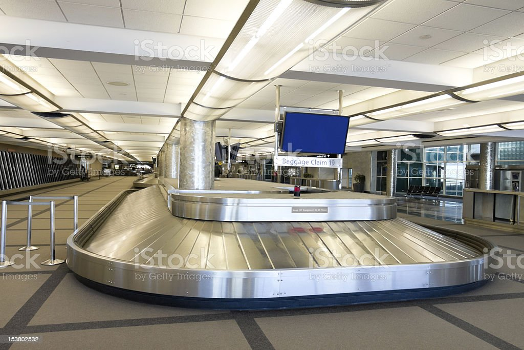 Empty Airport Baggage Carousel stock photo