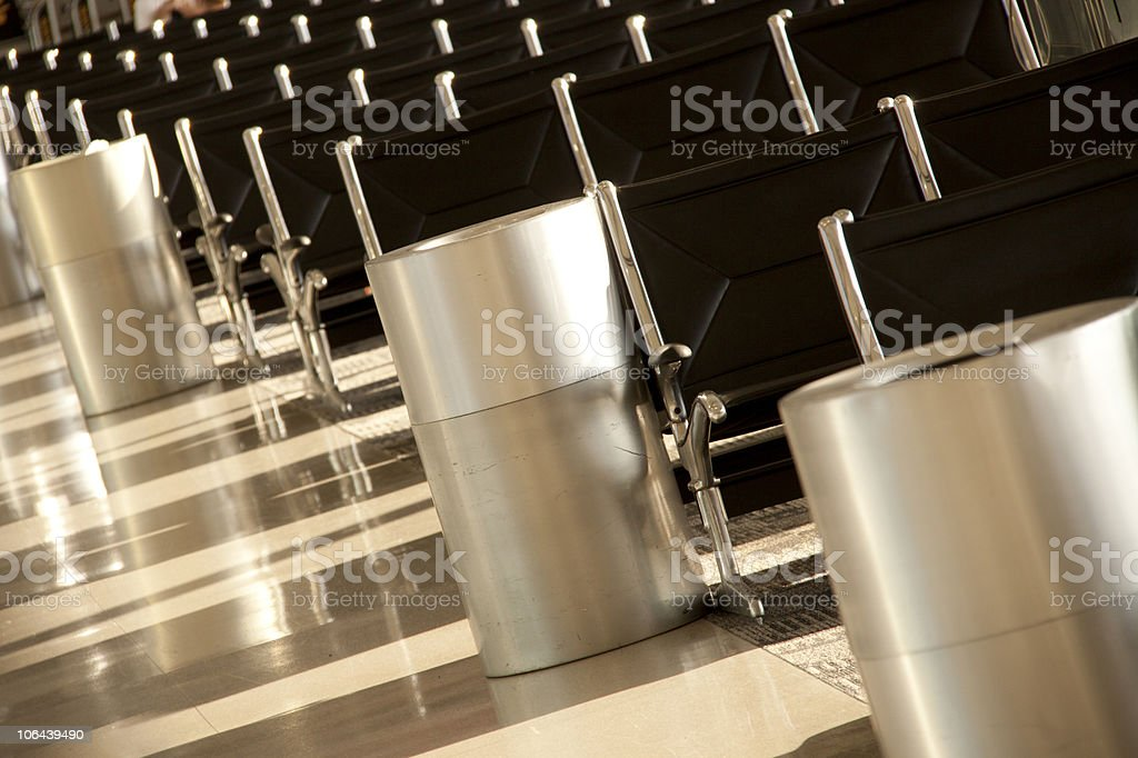 Empty Airport Concourse Seats royalty-free stock photo