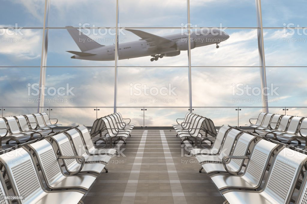 Empty airport departure lounge with airplane - foto stock