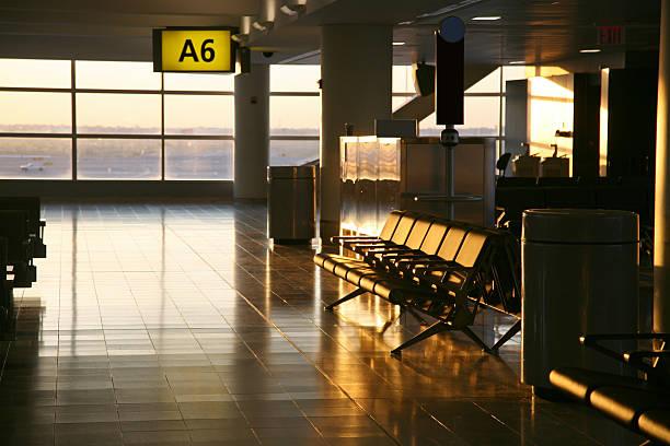 Empty Airport Lounge At Sunrise stock photo