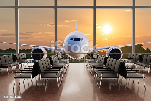 istock Empty airport terminal lounge and airplane in background at sunset. 3D rendered illustration. 1031570656