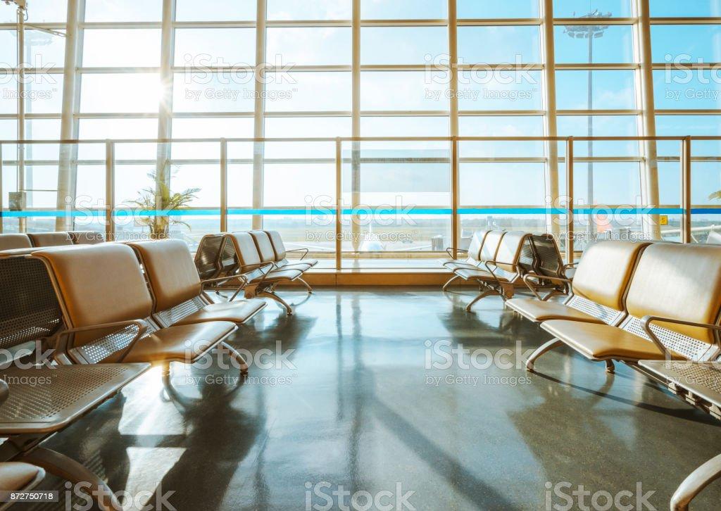 empty airport waiting area stock photo