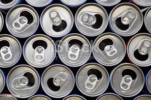 istock Empty aluminium drink cans recycling background concept 1139572292
