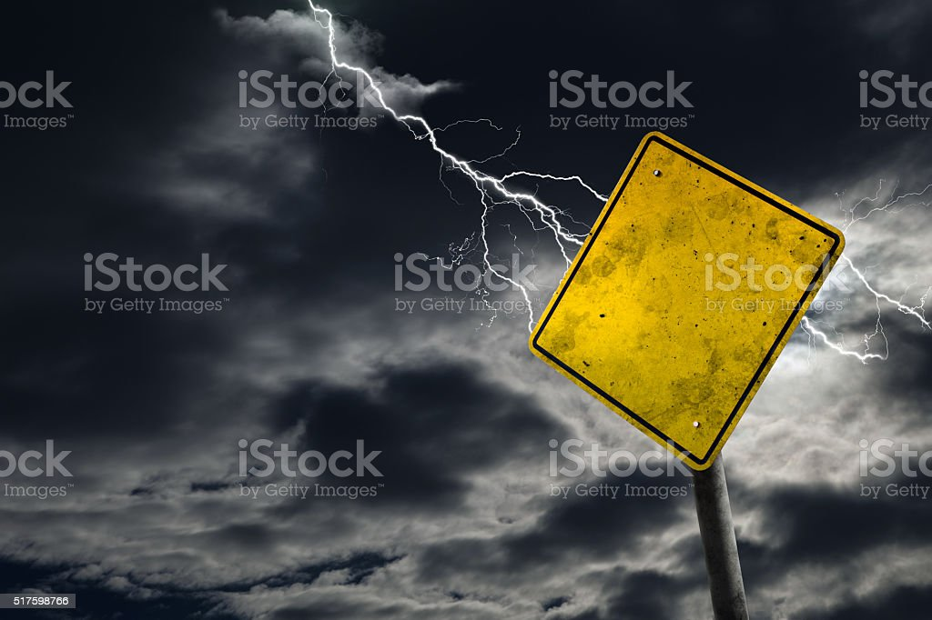 Empty and Dirty Road Sign With Stormy Background stock photo